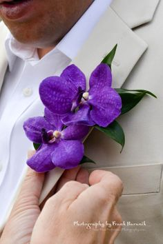 Double Purple Orchid Boutonniere by Sunya's Wedding Gifts For Men, Wedding Men, Wedding Suits, Wedding Ideas, Orchid Boutonniere, Boutonnieres, Diy Flowers, Wedding Flowers, Boquet