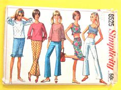 Simplicity 6525 60s ' Overblouse Crop Top and Pants Midriff top Ruffles Cropped Pants Bell Bottom Pa