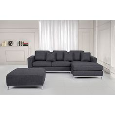 The sleek and modern design of this sofa is coupled with comfort to take your living room to the next level. In addition, you will have an ottoman that can serve as a table or for resting your feet after a hard day's work.