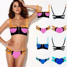 2014 Women's Fashion Neon Swimwear Triangle Neoprene Bikinis Woman Neoprene Swimsuit Set Push Up Bikini Set Top and Bottom-in Bikinis Set from Women's Clothing & Accessories on Aliexpress.com   Alibaba Group