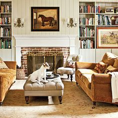 """Living Room - Horse Stable Turned Cottage - Southern Living-A leather tufted ottoman and mohair on the sofas """"wear like iron"""" Cottage Living Rooms, Living Room Sofa, Living Room Furniture, Living Room Decor, Living Spaces, Cottage Interiors, Living Area, Warm Color Schemes, Warm Colors"""