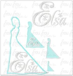 "Ellie Freezing Princess Full Body Silhouette and Name TWO Design SET Machine Applique Embroidery Design, Multiple sizes 1.5""-16"""