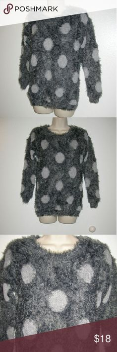 "Adorable big polka fuzzy sweater S Like new fuzzy, super soft sweater Bust 42"" Long 25"" qu'est-ce que c'est silk? Sweaters Crew & Scoop Necks"