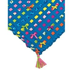 """Deluxe Easy Weave Fleece Blanket - Big kids, little kids, even moms and grandmas will love our Easy Weave, No-Sew woven fleece blanket kit. It's colorful, cozy and so easy to do!; No tedious tying necessary; just use the pre-cut fleece base along with the Easy Weave fleece strips. Finish off your blanket with a trendy woven edge – just loop and go; Make colorful pom-pom and tassel embellishments using more fleece strips and tool; Finished quilt measures 58"""" w x 35"""" h; Ages 7 to 97"""