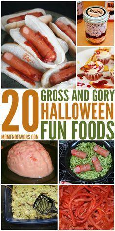 20 + Totally Gross & Gory Halloween Fun Food Ideas!