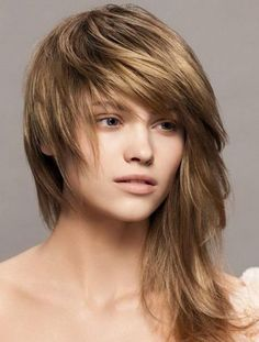 Edgy Sleek Asymmetrical Layered Choppy Long Hairstyles 2014 with Wispy Bangs