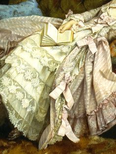 """""""Dolce Far Niente"""" (also known as """"A Reclining Beauty"""") (1877) (detail) by Auguste Toulmouche (1829-1890)."""