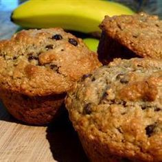 These healthy breakfast goodies are made lighter with baking powder and gain nice texture with rolled oats. Banana Milk, Banana Oats, Banana Oat Muffins, Allrecipes, Muffin Recipes, Healthy Eating, Sweets, Baking, Breakfast