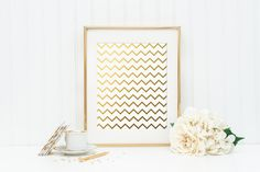 Chevron Gold Foil Print - gold foil print - pattern gold foil print - gold wall decor - gold nursery decor - gold office wall decoration by craftmeigold on Etsy https://www.etsy.com/listing/259016695/chevron-gold-foil-print-gold-foil-print