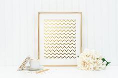 Chevron Gold Foil Print - gold foil print - pattern gold foil print - gold wall decor - gold nursery decor - gold office wall decoration by craftmeigold on Etsy https://www.etsy.com/listing/259016695/chevron-gold-foil-print-gold-foil-print