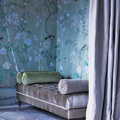 Degournay - love that wallpaper, velvet ottoman +pinstriped bolsters