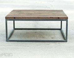 Steel Base Coffee Table live edge bench door brandMOJOinteriors