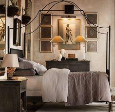 Iron Canopy Bed - Create Beautiful Bedroom - Home Interior Design Ideas Dream Bedroom, Home Bedroom, Bedroom Decor, Bedroom Interiors, Taupe Bedroom, Master Bedroom, Bedroom Size, Wall Decor, Bedroom Ceiling