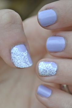 Lace nail art  by LookAtHerNails