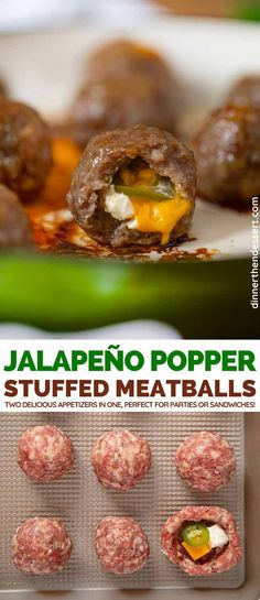 polpette rezept Jalapeno Popper Stuffed Meatballs are two delicious appetizers in one amazing bite perfect for parties or hoagies! Spicy Appetizers, Delicious Appetizers, Appetizer Recipes, Dinner Recipes, Party Recipes, Meatball Recipes, Beef Recipes, Cooking Recipes, Pepper Recipes
