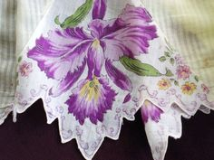 Charming antique apron made from textured lightweight linen and fine floral insert made during 1940s- 1950. $36.00 on GoAntiques