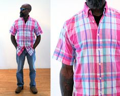 Queen of Cases African Tribal Leaves Mens Button Down Short Sleeve Shirt