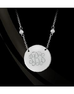 Script Monogram Pendant with CZ Chain by Jane Basch Designs available at I Thee Bling