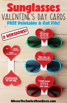 These are so cute and so simple! Love the free printable too! Sunglasses Valentine's Day Cards with FREE Printable & Silhouette Cut File   Where The Smiles Have Been #FreePrintable #Valentine #ValentinesDay