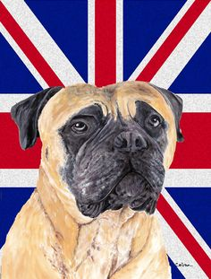 Mastiff with English Union Jack British Flag House Vertical Flag