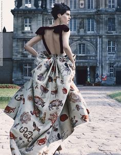 """Saskia de Brauw with architecture in """"Couture Clash"""" for W Magazine, October 2013."""