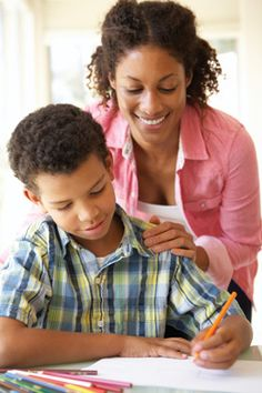 A mother and son following the 13 unbreakable homework rules for ADHD children