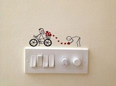 Cute-and-Creative-Home-Switchboard-Art-Installation You must be so used to turning switches on and off that you hardly notice them. You can turn them into cute and creative home switchboard art installations. Simple Wall Paintings, Creative Wall Painting, Wall Painting Decor, Creative Walls, Diy Wall Art, Diy Wall Decor, Creative Decor, Creative Ideas, Faux Painting
