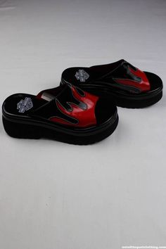 66a1c5f1425a Harley Davidson Hot Streak Vintage Red Flame Chunky Platform Sandals New In  Box