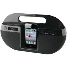 ILIVE IBP391B IPHONE(TM) APP-ENHANCED BOOM BOX WITH FM RADIO and LCD DISPLAY