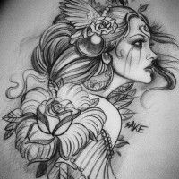 girl-flowers-tattoo-design