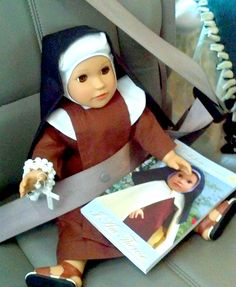 Little Therese on her way to Adoration!  Sent to us by one of Therese's Little Missionaries! Become one Today http://www.dollsfromheaven.com/thereses-little-missionaries.html