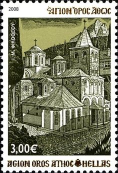 Stamp: Holy Monastery of Filotheou (Greece, Mount Athos) (_MOUNT ATHOS) Mi:GR-MA 20,Sn:GR-MA 20 Ex Yougoslavie, Thing 1, Vatican City, Postage Stamps, Holi, Barcelona Cathedral, Greece, Poster, Germany