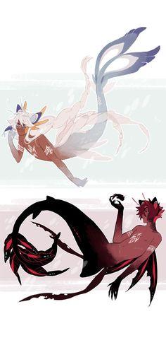 purrinces of the sea by azolitmin Mermaid Drawings, Mermaid Art, Art Drawings, Wolf Drawings, Magical Creatures, Fantasy Creatures, M Anime, Anime Merman, Mermaids And Mermen