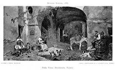 1905 Print Outside Ancient Roman Hostelry Hostel Lodging Dona Brockmann Art Female Painters, Ancient Romans, Artist Names, Livestock, Lodges, The Outsiders, Black And White, Hostel, Illustration