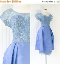 periwinkle blue sheer lace & satin cocktail dress / vintage 1950s pinup illusion tiered tea gown / dusky blue / size M or L