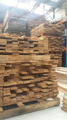 Freshly landed oak from France. It temporarily found shelter in our factory but will soon move into new homes.