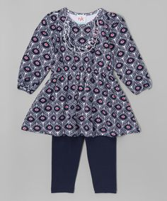 Another great find on #zulily! Blue Floral Tunic & Leggings - Infant, Kid & Tween #zulilyfinds