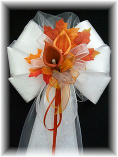 burnt orange wedding | Burnt Orange and Apple Red Calla Lily Pew Bows Burnt Orange and Copper ...