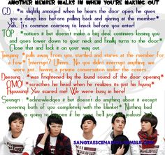 Big Bang scenarios ~ Another member walks in when you're making out ~