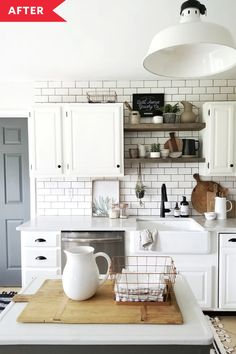 Modern farmhouse kitchen renovation with subway tile and open shelves HUMBLE BEGINNINGS: When we moved into our home at the end of it was very clean and well-maintained, but it was definitely still stuck in it builder grade state. Young House Love, Modern Farmhouse Kitchens, Farmhouse Kitchen Decor, Kitchen Modern, Bungalow Kitchen, Modern Bungalow, Kitchen Wood, White Farmhouse, White Kitchens