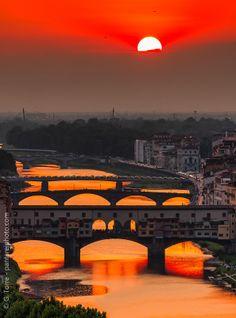 Crimson sky, Florence, Italy
