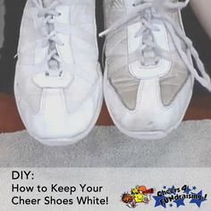 Need some help keeping those cheer shoes nice and shiny? Check out this youtube tutorial for some tips on keeping your feet looking fab! #cheertip