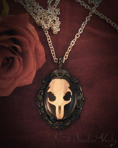 Skull Necklace Gothic Necklace Taxidermy Rat Bone Black Onyx Cameo Romantic Macabre Jewelry Necklace.