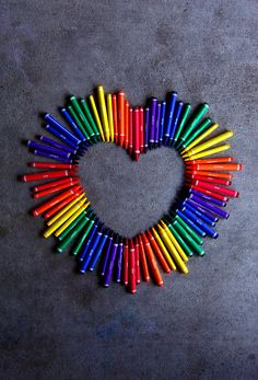 Love Heart With Rainbow Crayons by D. Sharon Pruitt