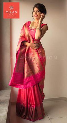 Beautiful pink color saree from Milan Indian Silk Sarees, Soft Silk Sarees, Indian Beauty Saree, Saree Wearing Styles, Saree Styles, Trendy Sarees, Stylish Sarees, Indian Dresses, Indian Outfits
