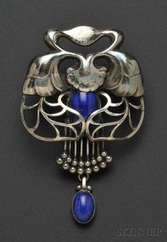 .800 Silver and Lapis Brooch, Georg Jensen, with bud and foliate motifs, set with lapis cabochons