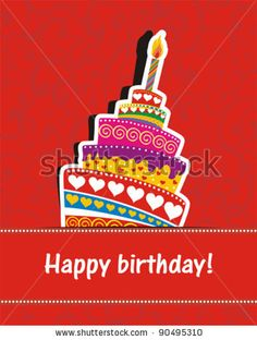 Vector happy birthday card. Birthday cake. Vector Illustration - stock vector