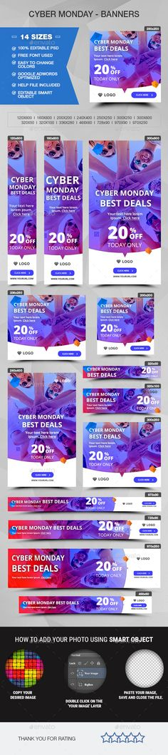 Cyber Monday Banners — Photoshop PSD #sales #adroll • Available here → https://graphicriver.net/item/cyber-monday-banners/20109253?ref=pxcr
