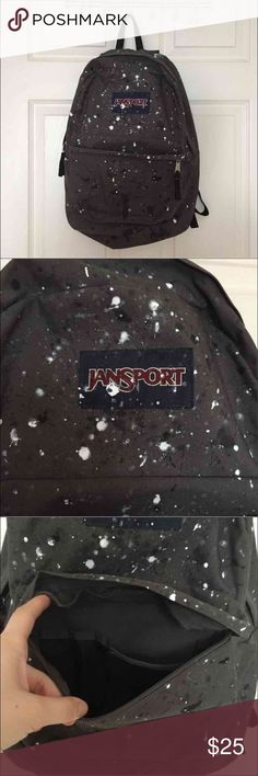Jansport Backpack Excellent condition - only used once or twice. Cute paint-splattered design. Perfect backpack for carrying books, laptop, miscellaneous objects. Jansport Bags Backpacks