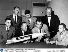 Mercury 7: Original American astronauts Alan Shepard, Gus Grissom, John Glenn, Scott Carpenter, Wally Schirra, Gordon Cooper, and Deke Slayton.